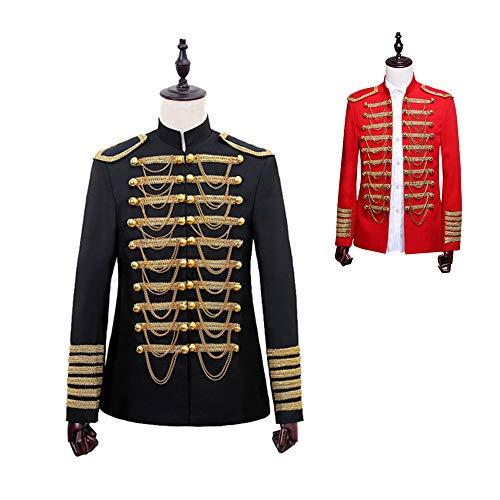 DuHLi Steampunk Vintage Mantel British Prince Kostüm Militär verschönert Jacke Sänger Pop Stars Blazer Anzüge Cos Outfit für Männer schwarz,Black,XXL