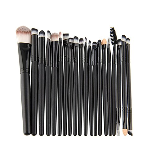 ESYN 20pcs Fondation Sourcils Eyeshadow Maquillage Blending Brush Set (20pcs Black Brush Set)