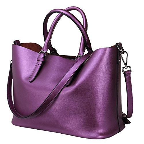 Yy.f Neue Handtaschen Ledertaschen Lässig Einfach Pearl Leder Tragbare Große Beutel Multicolor Purple