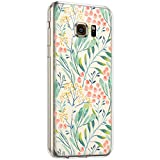 Surakey Cover Compatibile con Samsung Galaxy S6 Custodia Silicone Trasparente Motivo Floreale Case con Crystal Clear TPU Bumper Ultra Slim Moda Anti-Scratch Cover per Samsung Galaxy S6,Fiore#19
