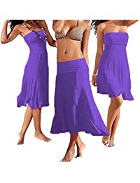 SODACODA 4 Styles in 1 - Strapless Beach Cover-up Summer Beachwear Party Dress or long bohemian Skirt – all colours (S-XL)