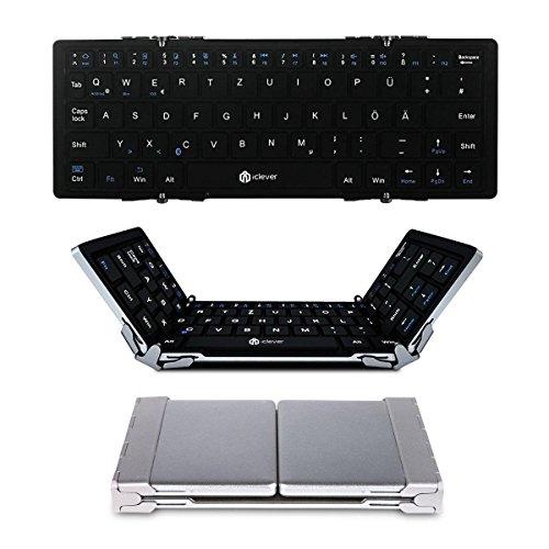 Faltbare Bluetooth Tastatur, iClever Ultra Slim Wireless Keyboard (QWERTZ, Deutsches Tastaturlayout) für iOS, Android, Windows, PC, Tablets und Smartphone