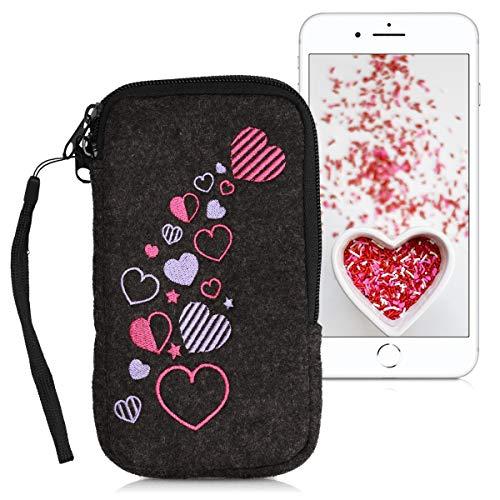 """kwmobile Handytasche für Smartphones L - 6,5"""" - Handy Filztasche - Herzen Mix Design Rosa Violett Dunkelgrau - 16,2 x 8,3 cm Innenmaße"""