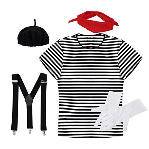 dPois Herren Damen Französische Pantomime Kostüm Zirkus Künstler Cosplay Outfits Gestreiftes T-Shirt Barett mit Zubehör für Halloween Party Herren_Schwarz - Französisches Barett Kostüm