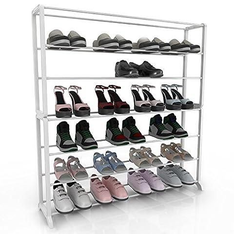 Homdox Metall Schuhregal Schuhschrank mit 7 Ablagen für bis zu