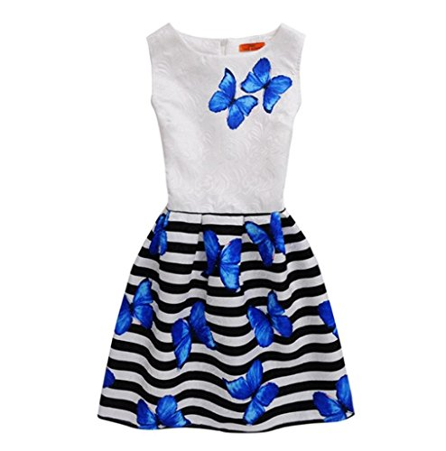 JERFER 2018 Sommerkleid ärmellos Bedruckt Prinzessin Kleid Kinder Kinder Outfits Kleidung (50er Jahre Mädchen Outfit)
