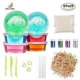 Kids Toys Soft Slime DIY Slime Kit, JIM'S STORE 6 Pack Non-toxic Crystal Magic Plasticine Toys with 5000PCS Colorful Foam Balls, 2500PCS Fruit Face Decoration, 4 Glitter Shaker Jars(Color random)