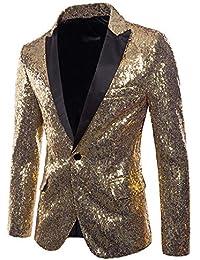 laamei Blazer Hommes Manteau Blazer Mariage Élégant Slim Fit Paillettes  Vintage Veste De Costume À Manches 4748451ab91