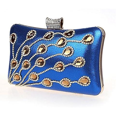 El bolso femenino del bolso del vestido de embrague noche bolsa bolsa de banquetes la novia bolsa de dama nueva bolsa de diamantes bolsa de mano de la moda ( Color : Azul zafiro )