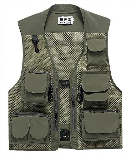 LIESEZHE Herren Mesh Multifunktionsweste Summer Outdoor Sport Weste mit vielen Taschen für Angeln Jagd Camping Safari Größe XL - Grün -