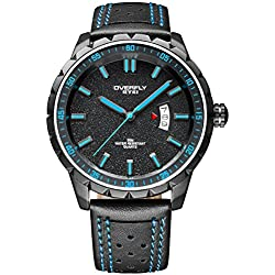 Alienwork Quarz Armbanduhr Multi-funktion Quarzuhr Uhr sport Modernes blau schwarz Leder YH.EOV3060L-02