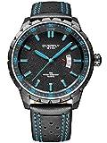 Alienwork Quartz Watch Multi-function Wristwatch sport Moderne Leather blue black YH.EOV3060L-02