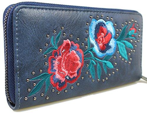 Mevina Damen Geldbörse Blumen Stickerei Nieten bestickt Leder Optik Vintage Design großes Portemonnaie Dunkelblau A1312 (Bestickte Geldbörse)