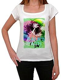 Palms Beach Green T-shirt Femme,Blanc, t shirt femme,cadeau