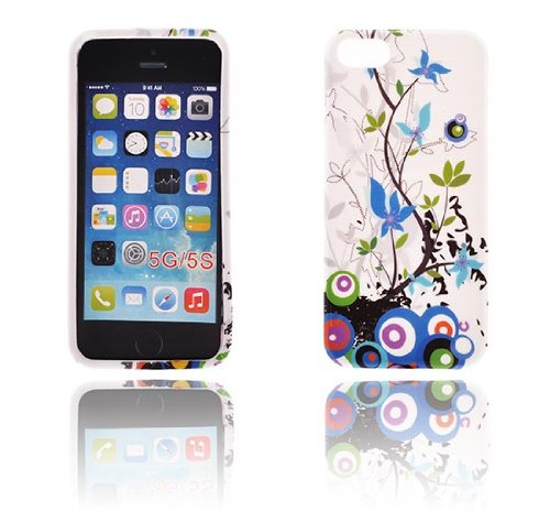 handy-point Gummihülle Silikonhülle Gummi Silikon Schale Schutzschale Schutzhülle Hülle für iPhone SE 5 5S Bunt Blume Blumen Muster 12 Design 02 - Hülle für iPhone 5