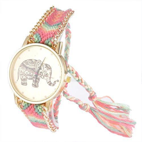 Patrón de elefante Souarts de terciopelo Tejido ajustable pulsera redondo reloj de pulsera rosa