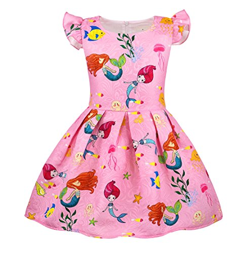AmzBarley Meerjungfrau Kostüm Kinder Mädchen Kleid Cartton Party Outfit Kinder Kurzarm Geburtstag Dress up Sommer Sommerkleid Casual Playwear Kleid Geburtstag (Ariel Kostüm Rosa Kleid)