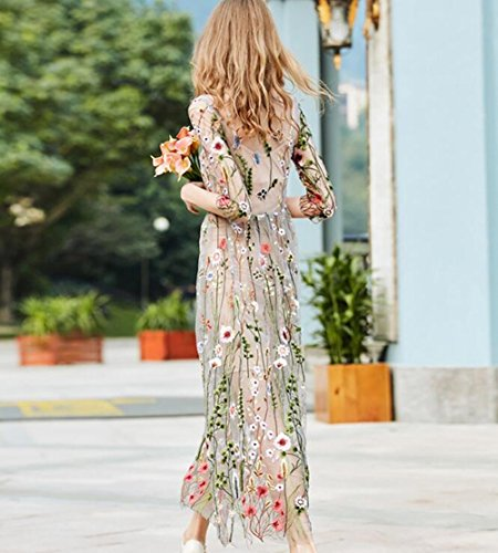 Women's Embroidered Floral Net Yarn Dress Fashion Evening Dress Seaside Resort Beach Dress (L)