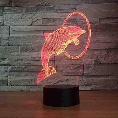 CDBAMX dolphin 3D Led Veilleuse Lampe de chevet tactile Touch Control 7 Changement de couleur Usb Touch Led Lampe de table de bureau anniversaire cadeau de mère