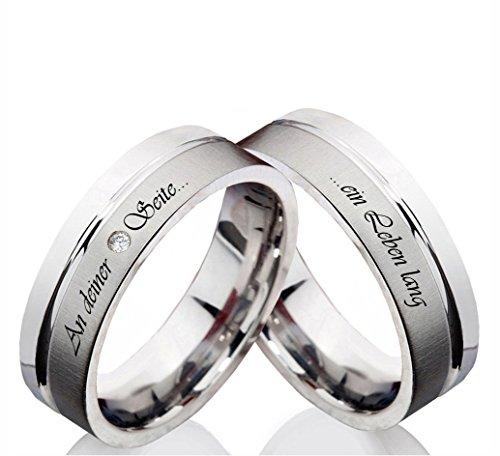 Eheringe Verlobungsringe aus Edelstahl mit Zirkonia und Ihrer persönlichen Lasergravur Z111