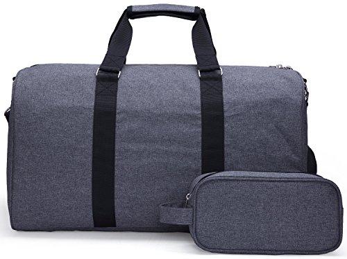 MIER Weekender Seesack Tasche Reisetasche Mit Schuhfach für Männer und Frauen, 2 PC-Set (Schwarz) Grau