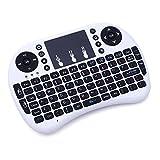 iprotect Wireless Mini Multimedia Tastatur 2.4GHz QWERTY Keyboard mit Touchpad für Smartphones, Smart TV, Tablets, Notebooks, Konsolen etc. in weiß