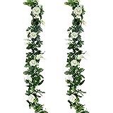GoMaihe Roses Artificielles Deco, 2pcs x 2.4M Fleurs Artificiels Faux Roses en Soie et Lierre Plante Artificielle Interieur Exterieur Guirlandes de Roses pour Fête Noel Mariage Cuisine Jardin, Blanc