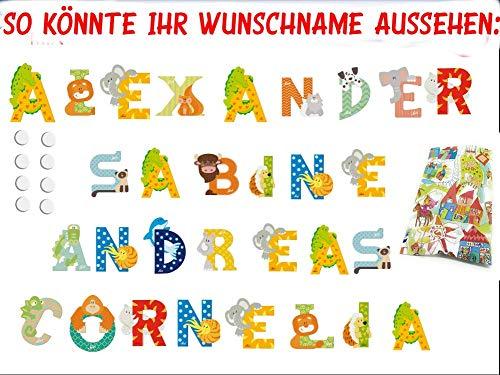 3 Sevi Holzbuchstaben Tiere für Wunschname inkl Geschenkverpackung Türbuchstaben Kinderbuchstaben Holz Dekobuchstaben (3 Holzbuchstaben)