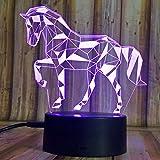 3D Illusion Nachtlampe, SUNINESS 7 Farben ändern Touch Control LED Schreibtisch Tisch Nachtlicht mit bunten USB Powered für Fußball WM Kinder Kinder Familie Ferienhaus Dekoration Geburtstag beste Geschenk (Pferd)
