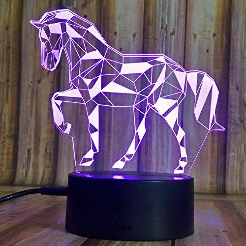 Leuchten Pferd (3D Illusion Nachtlampe, SUNINESS 7 Farben ändern Touch Control LED Schreibtisch Tisch Nachtlicht mit bunten USB Powered für Fußball WM Kinder Kinder Familie Ferienhaus Dekoration Geburtstag beste Geschenk (Pferd))