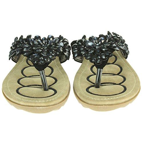 Femmes Dames Perlé Semelle molle Slip On Étourdissant Plage Open Toe Été Casual Confort Plat Sandales Chaussures Taille Noir