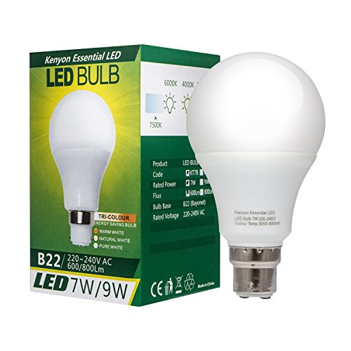 "514fmiigvsL - NO.1 BEAUTY# Kenyon® 7W B22 ""3-in-1"" LED Bulb with Innovative Multi-Light Settings (Pure White, Warm White or Natural White), Long-Lasting and Perfect Lighting for Anywhere in your Home or Workplace - Bayonet Cap, Non Dimmable (1 Pack) Reviews  Best Buy price"