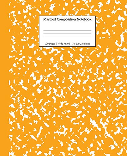 Marbled Composition Notebook: Orange Marble Wide Ruled Paper Subject Book (School Essentials)