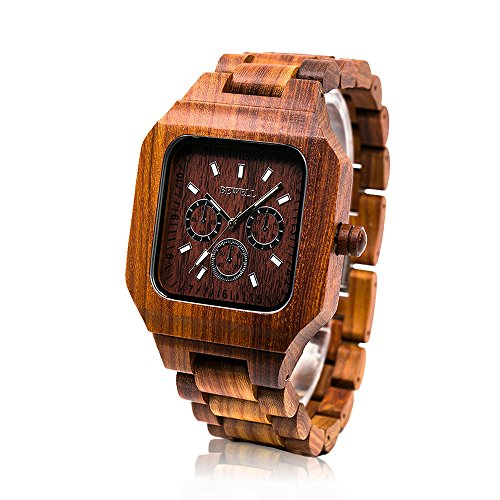 bewell wood watch red square dial with sub-dials hallow luminous pointer improted japanese quartz wrstwatch for man women w001a