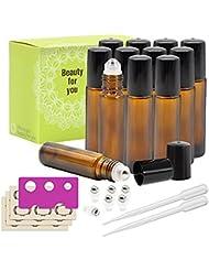 Almondcy 12-Piece 10ml Amber Glass Roll on Bottles avec boule à rouleaux en acier inoxydable, 6 boules de rouleaux supplémentaires, étiquettes 18 pièces, ouvreuses et 3ml Dropper pour huiles essentielles