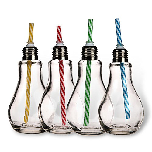 4 x HC-Handel 923356 Trinkglas Glühbirne mit Metallgewinde und Trinkhalm 250 ml transparent