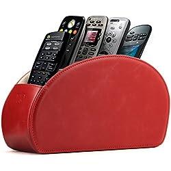 Soporte para mandos a distancia Otto con 5 espacios - Organiza mandos de DVD, Blu-Ray, TV, Roku o Apple TV - Cuero sintético de PU revestido en gamuza - Delgado y compacto, ideal para sala y dormitorio - Rojo