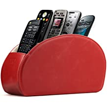 Soporte para mandos a distancia Otto con 5 espacios - Organiza mandos de DVD, Blu-Ray, TV, Roku o Apple TV - Cuero sintético de PU revestido en gamuza - Delgado y compacto, ideal para sala y dormitorio (Rojo)