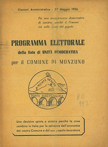 Programma elettorale della lista di Unita' Democratica per il Comune di Monzuno.