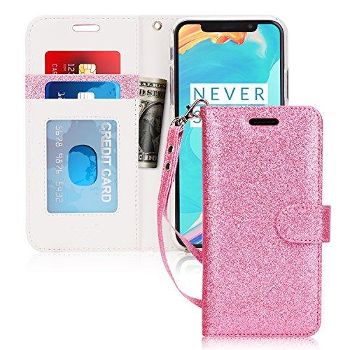 FYY iPhone X Hülle, iPhone XS Hülle,[RFID-Blockierung Brieftasche Hülle Flip Folio [Ständer Feature] mit ID & Kreditkarte Protector Schutzhülle für iPhone X, Bling Rosa Gold