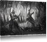 Kampf zwischen Samurai und Ninja Kunst Kohle Effekt, Format: 80x60 auf Leinwand, XXL riesige Bilder fertig gerahmt mit Keilrahmen, Kunstdruck auf Wandbild mit Rahmen, günstiger als Gemälde oder Ölbild, kein Poster oder Plakat