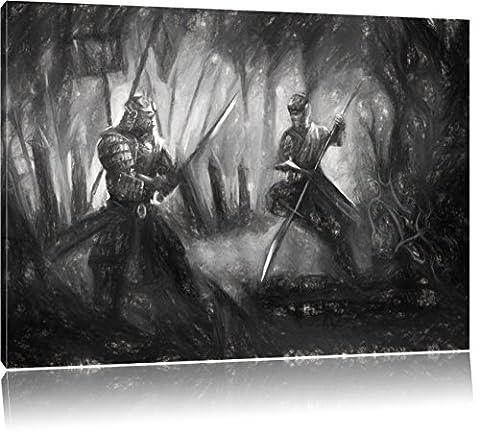 Kampf zwischen Samurai und Ninja Kunst Kohle Effekt, Format: 60x40 auf Leinwand, XXL riesige Bilder fertig gerahmt mit Keilrahmen, Kunstdruck auf Wandbild mit Rahmen, günstiger als Gemälde oder Ölbild, kein Poster oder (Hot Ninja Kostüm)