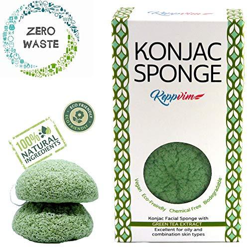 Konjac Schwamm Grüner Tee für Fettige empfindliche Haut - (2stück), Biologisch Abbaubar, vegan, zero waste, plastikfrei