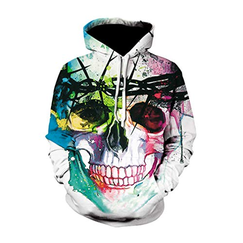 Hombre Hoodie Impresión Digital 3D Halloween Huesos Hooded Pullove Gótico Fantasma Sudaderas con Capucha Suelto Estampada Cráneo Hoodie M - 5XL
