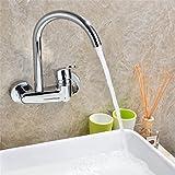 Hlluya Wasserhahn für Waschbecken Küche Das Kupfer in die Wand von warmen und kalten Gerichten Waschbecken Armatur Küchenarmatur Wäscheservice Pool kalt Wasserhahn