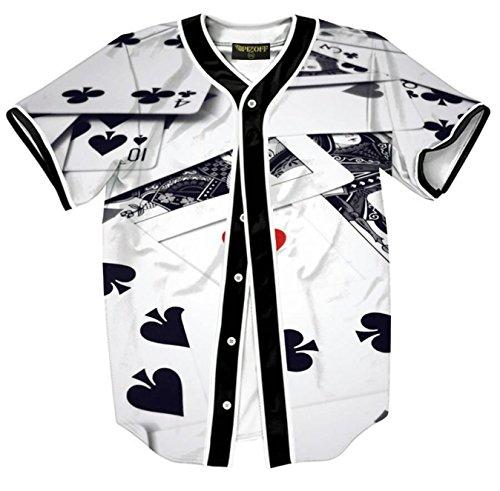 Kinder Spielen Baseball Jersey (Pizoff Herren Hip Hop 3D Druck Baseball Hemd Urban Classic Baseball Jersey Lucky Poker Spiele)