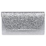Caspar TA506 Damen kleine elegante Glitzer Clutch Tasche Abendtasche, Farbe:silber, Größe:Einheitsgröße