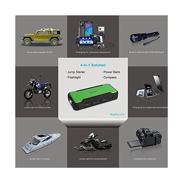 RoyPow Arrancador de Salto de 12000 mAh de hasta 4.0L y 400A Cargador de Batería Externo Portátil & Power Bank…