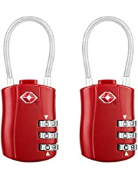 Diyife TSA Luggage Locks, [2018 Newest Version][2 Packs] 3-Digit Security Padlock, Combination Padlocks, Code Lock for Travel Suitcases Luggage Bag Case etc.(Red)