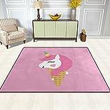 Designer-Teppich aus extrem weichem Polyester, pink mit Einhorn-Eis-Motivdruck, große, rutschfeste, modern Teppiche für Bad, Schlafzimmer, Wohnzimmer, Flur, Esszimmer, 122x 160cm, Textil, multi, 58 x 80 inch